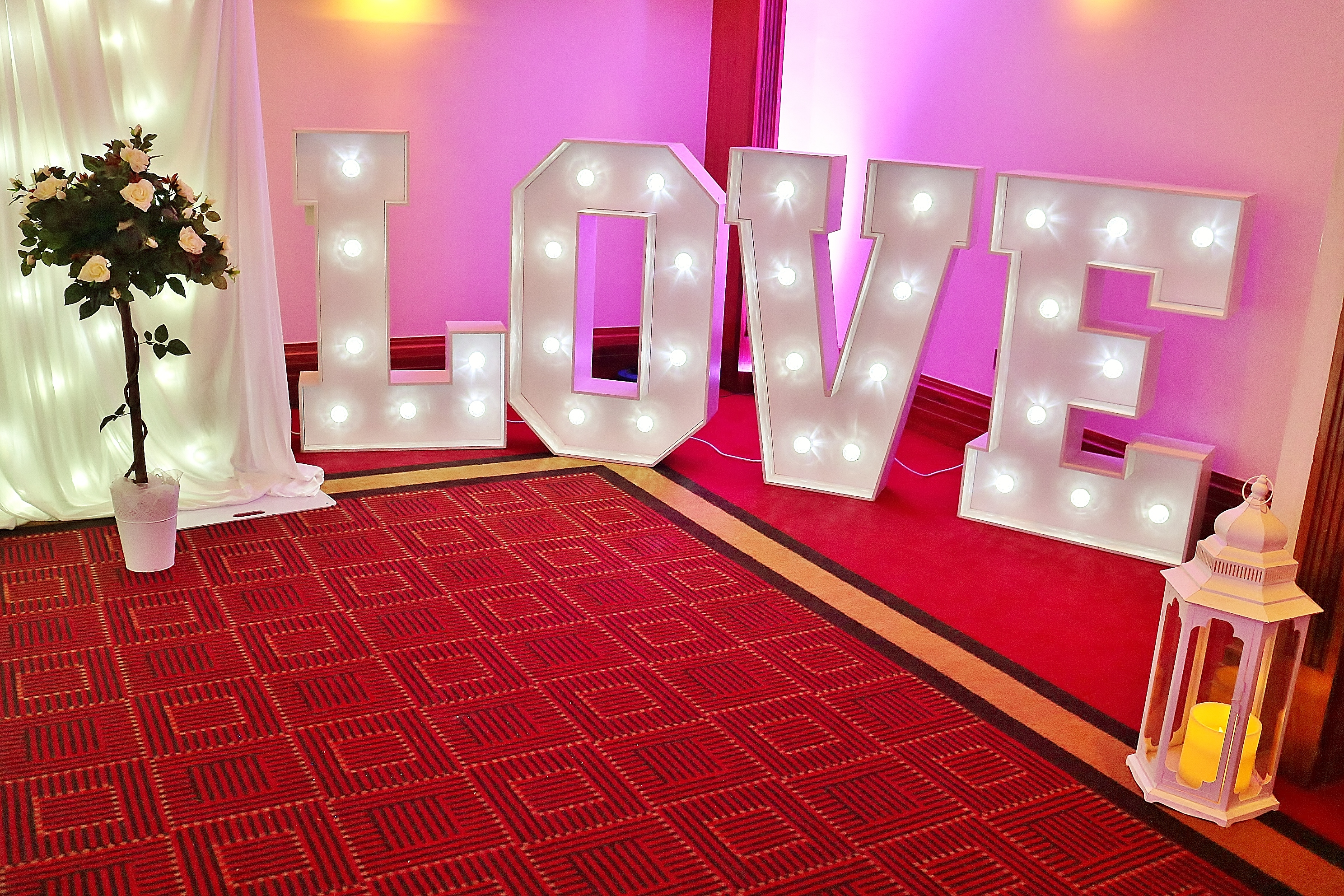 Illuminated 'Love' letters